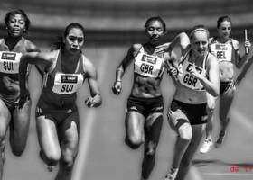 Laufen. Rennen. Die Frauen laufen.
