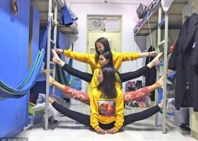 劈叉秀出新高度 College students show their terrific stretching ability