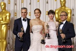 Für ihr Schauspiel prämiert: Daniel Day Lewis, Jennifer Lawrence, Anne Hathaway und Christoph Waltz.