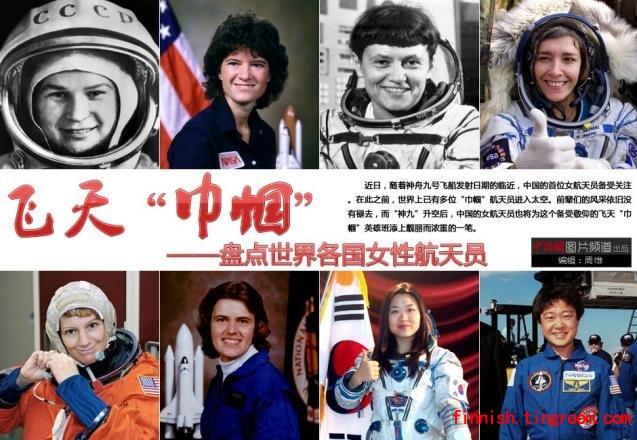Avaruudessa käyneitä naisia, ylhäällä vasemmalla Valentina Tereshkova.