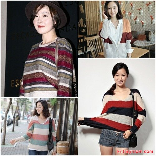 严智媛——条纹针织衫